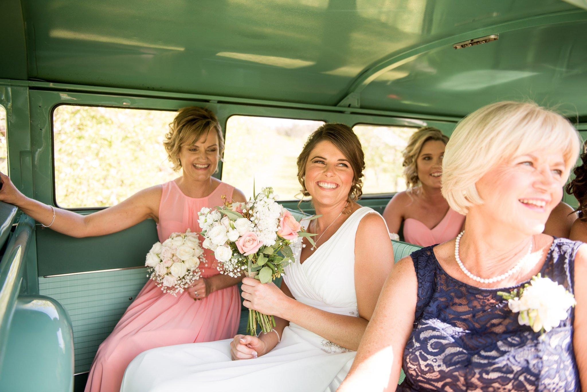 bride arriving in combi