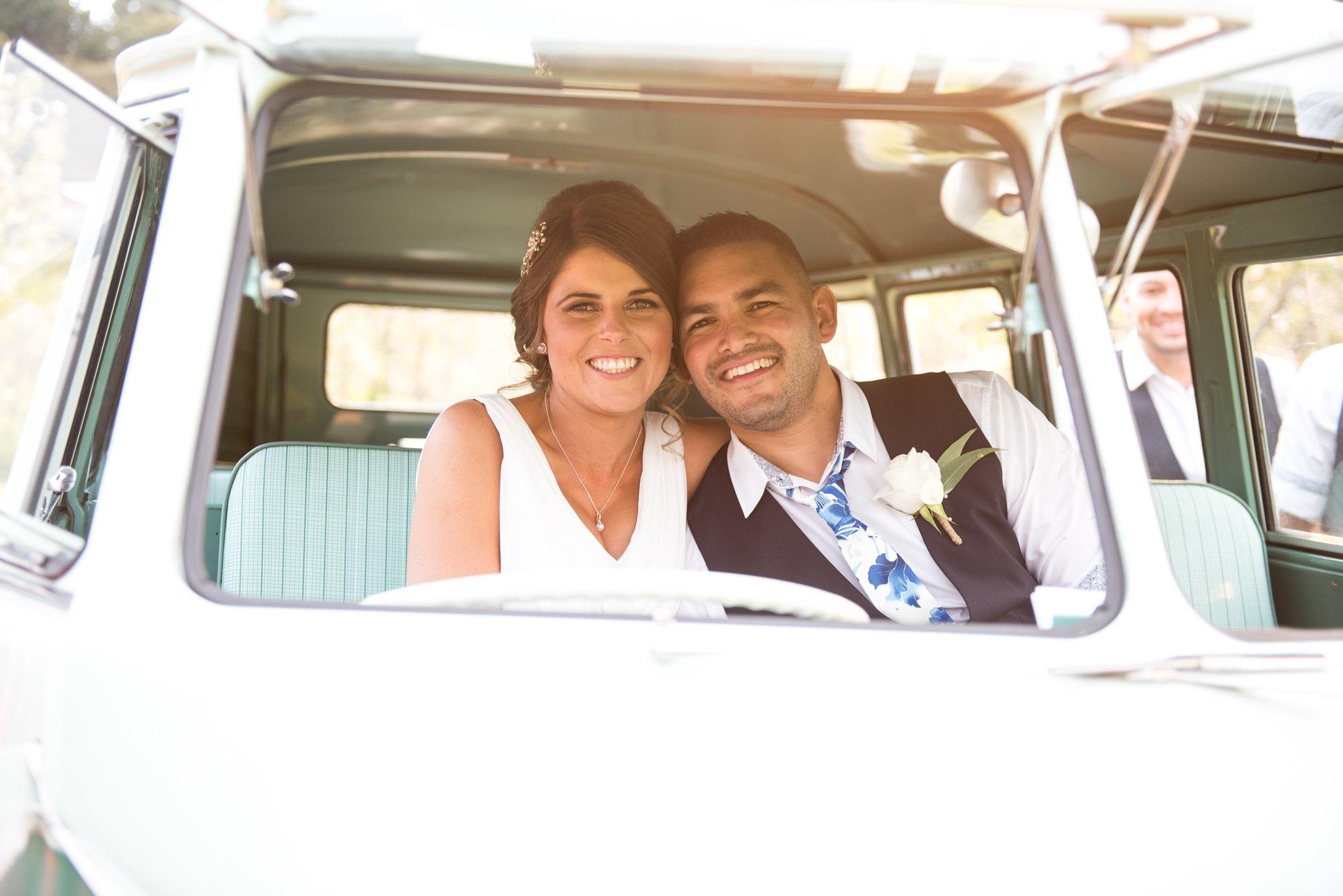 bride and groom in combi